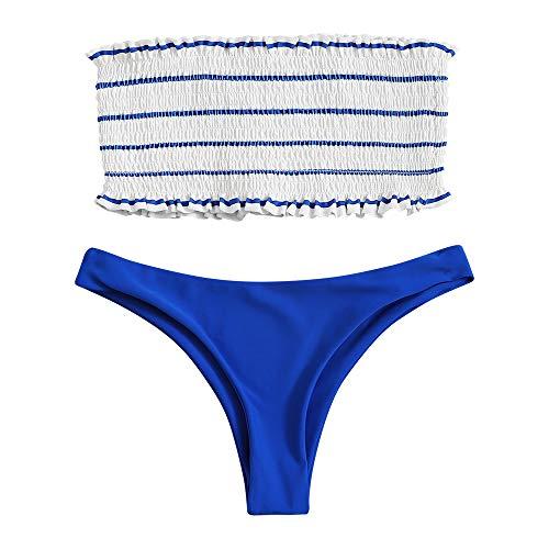 FUPOZ Damen Bikini-Set Gestreiftes Bikini Set mit Rüschen Bikiniset Bandeau Bademode (036Navy blau,S)