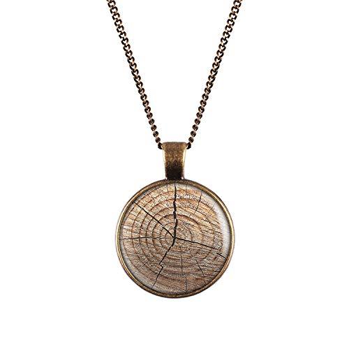 Mylery Collar con Motivo Estructura de Madera de Grano de Madera del tocón de árbol Bronce 28mm