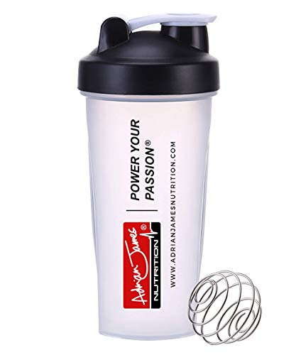 Adrian James Nutrition – Protein Powder Shaker Bottle with Mixer Ball, Leak-Proof Screw-On Lid and Secure Drinking Flip Cap, 100% BPA Free, 600 ml