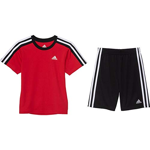 adidas Soccer T-Shirt and Shorts Set - Short Sleeve for Boys, Scarlet/Black, 5