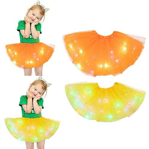 Julhold Falda tutú para niñas con lentejuelas, falda luminosa con diseño de estrellas, 2 unidades