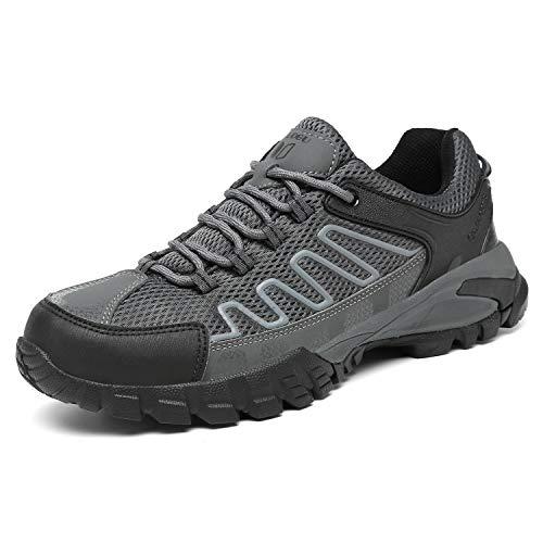 FOGOIN Wanderschuhe Herren Damen Leicht Low Trekkingschuhe rutschfest Atmungsaktiv Outdoor Walking Schuhe Sportlich Trekking-& Wanderhalbschuhe, Grau, Gr.42