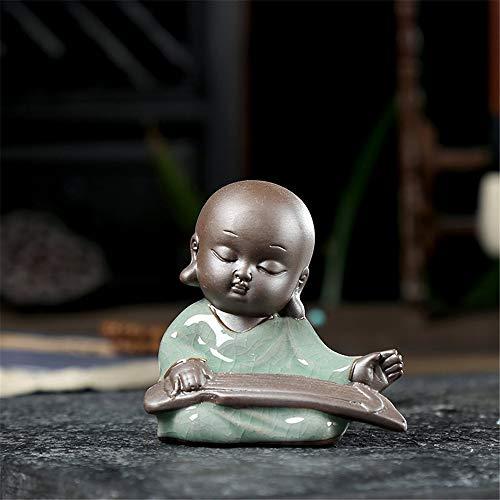 FFDGHB Thai Sitzender Buddha Dekorative Statue NatüRliche PersöNlichkeit Kleiner MöNch Tee Haustier Keramik 7,5 * 7,5 cm