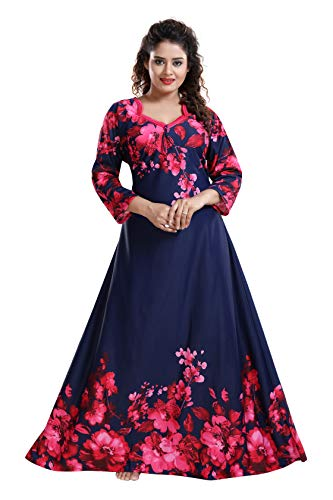 YKI® Women's Beautiful Print Full-Flare Nighty with Long Sleeves/Night Gown/Nightwear/Nightdress (Navy-Pink-1388, Large)