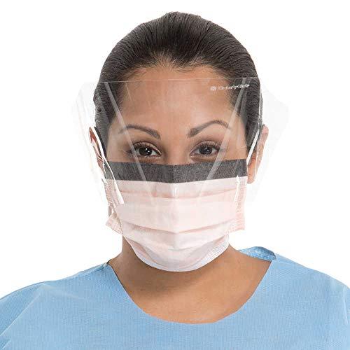 Kimberly-Clark 47147 Fluidshield Fog-Free Procedure Mask with Visor, Capacity, Volume, Mask with Foam Band and Plastic Visor, Universal, Orange (Pack of 25)