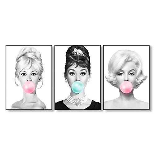 nobrand SNUMDQW Stern Leinwanddruck Audrey Hepburn Bubblegum Brigitte Bardot Marilyn Monroe Wandkunst Poster Druck Bild Home Decor-50x70cmx3p ohne Rahmen