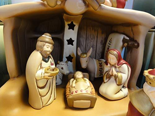 Presepe Completo in Ceramica Wald - Ceramiche Artistiche - Made in Italy - Capanna, Sacra Famiglia, Bue e Asinello, Re Magi, Angeli e Pastori