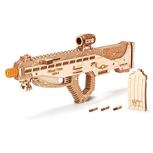 Wood Trick Assault Gun Wooden Model Kit for Adults and Teens to Build - Rifle Guns for Kids - 3D Wooden Puzzle Mechanical Model