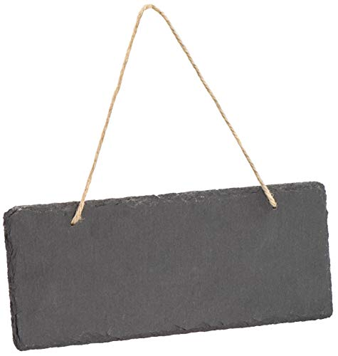 LAUBLUST Schiefer Memo-Tafel zum Beschriften - 25x10cm, Anthrazit - Dekorative Schieferplatte mit Halteseil als Namensschild | Wandtafel | Haustür-Schild | Küchen-Tafel | Geschenkidee zum Einzug