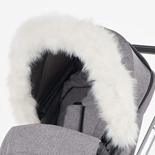 For-Your-Little-One aFHACWT-W543 Pram Fur Hood Trim Compatible On TFK Blanc