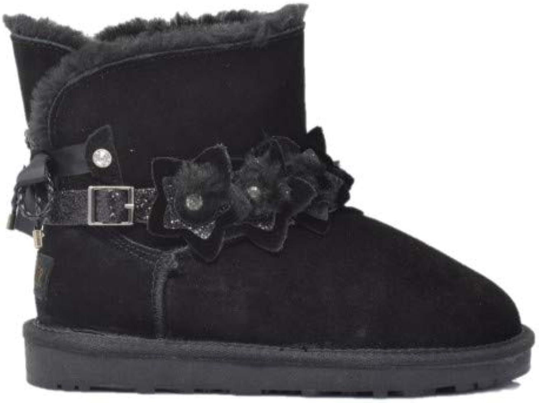 Cafè schwarz JFG621 Leder-Ankle-Stiefel MIT Bogen AUF der der der RÜCKSEITE  72074e