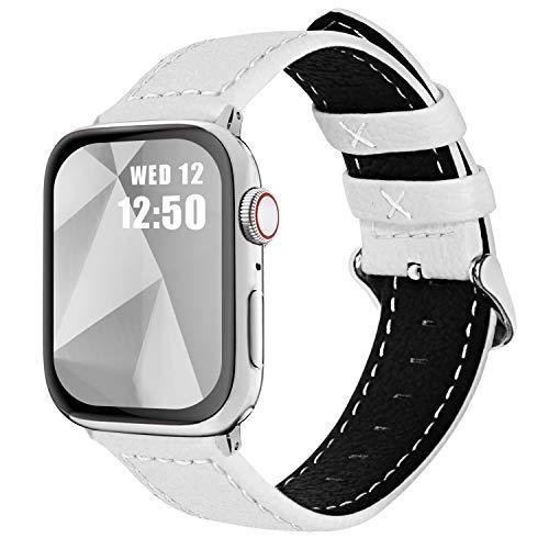 Fullmosa Cinturino per Apple Watch 44mm/42mm, Jan Cinturino in Pelle con Chiusura in Acciaio Inossidabile Compatibile con iWatch Serie SE 6 5 4 3 2 1, Bianco, 42mm/44mm