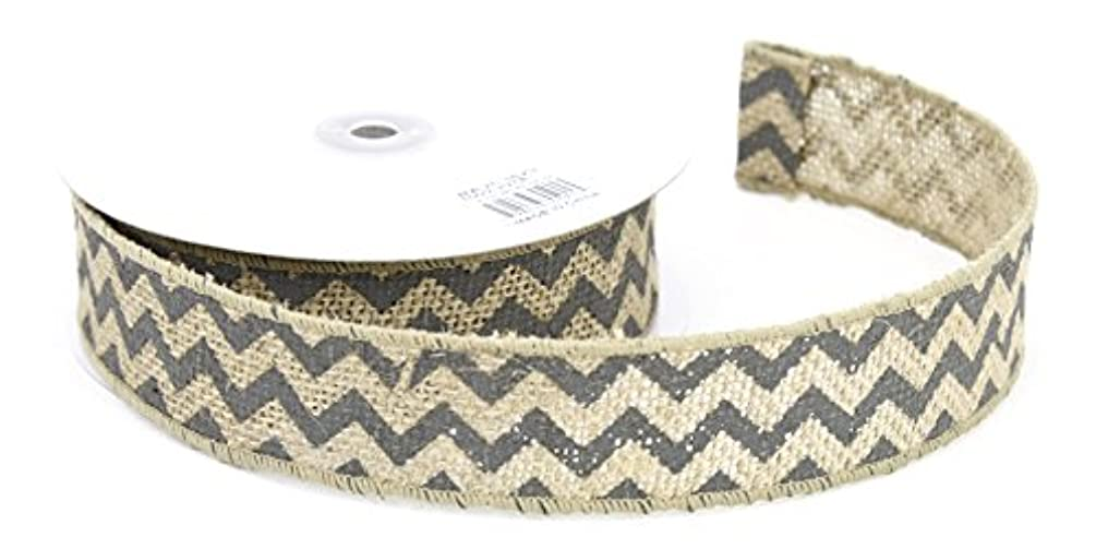 Kel-Toy Wired Chevron Burlap Ribbon, 1.5-Inch by 10-Yard, Natural and Dark Gray