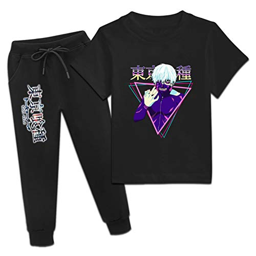 CAPINER Youth Anime 2 Piece Outfit Set,Bloody T-ok-YOG-ho-ul T-Shirts and Sweatpants Athletic Tracksuits Set Boys Girls Medium Black