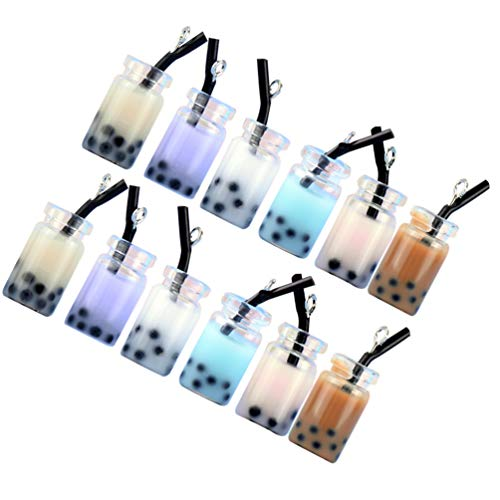 EXCEART 12 Piezas de Dijes de Té de Leche Colgante Llavero Miniatura de Té de Leche Adornos para Pendientes Accesorios para Hacer Joyas (Color Mixto)