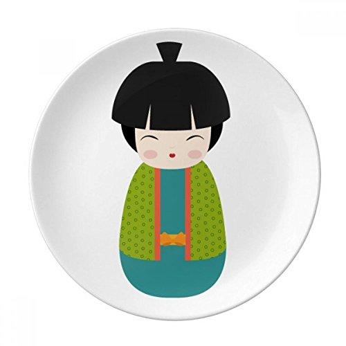 DIYthinker Vert Kimono Doll Japan Art décoratif en Porcelaine Assiette à Dessert 8 Pouces Dîner Accueil Cadeau 21cm diamètre Multicolor