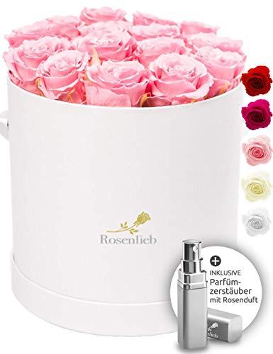 Rosenlieb Rosenbox mit 18 Infinity Rosen (3 Jahre haltbar) | Handgefertigte Flowerbox inkl. Grußkarte | Echte ewige Rose Freundin Frau (Medi Bellissima Weiß, Rosa)