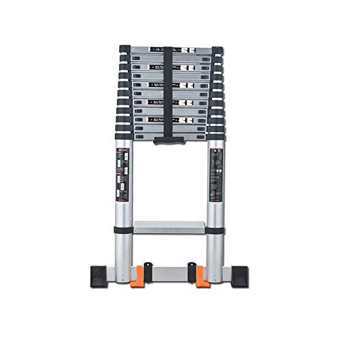 WGFGXQ Teleskopleiter, 4,65 m (183 Zoll) Zusammenklappbare, tragbare Miniteleskopleiter mit platzsparender Aufstiegsleiter Baustellentreppe Verlängerungsleiter