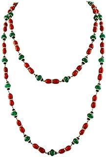 Collana con Diamanti, Onice, Agata Verde e Corallo