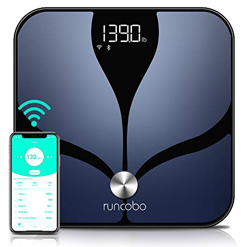 Smart Body Fat Scales, Auto-Switch Wi-Fi Bluetooth Body Weight Scale, 14 Body Composition with iOS Android APP, Multiple Users, Unlimited Cloud Storage, Scales Digital Weight and Body Fat