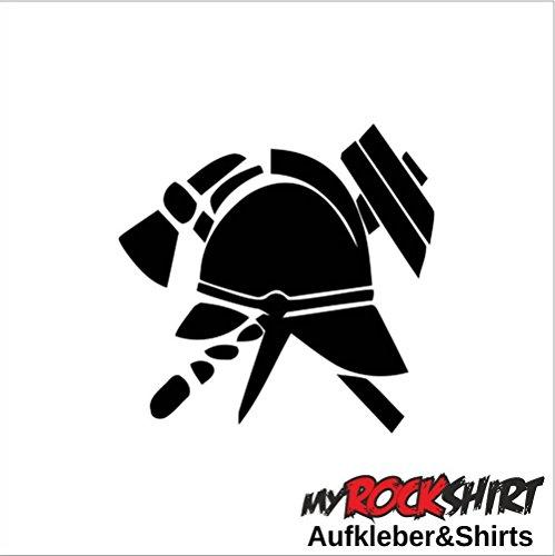 Hochwertiger Symbol Feuerwehr Helm Axt 20cm Aufkleber für Auto, Wand, Wandtattoo, Lack, Boote und alle glatten Flächen, geplottet ohne Hintergrund aus Hochleistungsfolie, viele Farben zur Auswahl,Fahrrad, Biker, Tuning Sticker,