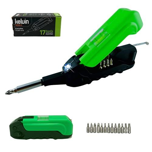 Kelvin Tools Kelvin 17   The Palm-Sized Everyday Multi-Tool Set   17 Integrated Tools: 13 Bit Screwdriver Set, Tape Measure, Liquid Level, Hammer, and Flashlight (Black/Green)