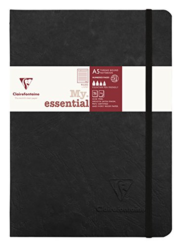 Clairefontaine 'Age Bag' Thread-Bound Notebook, A5, Lined, 192 Pages - Black