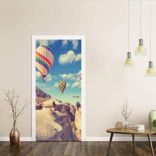 QHWLKJE Etiqueta de puerta Vista en globo aerostático PVC Adhesivo Pegatina Vinilos Decorativos para Puerta Pared Cocina Sala de Baño 77x200cm