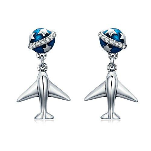 Ohrringe, 925er Sterlingsilber, Design: Planet & Flugzeug, Ohrhänger für Frauen