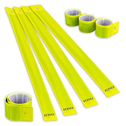 ECENCE 8X Schnapparmband Reflektorband Sicherheitsband Klatscharmband reflektierend Neon für Kinder, Erwachsene, Jungen und Mädchen im Set zum Fahrrad Fahren, Laufen oder Joggen