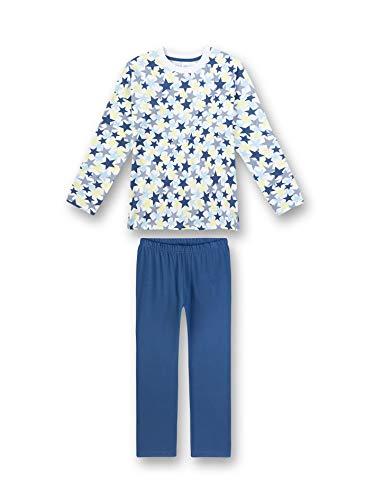 Sanetta Mädchen Pyjama Lang Zweiteiliger Schlafanzug, Blau (blau 50314), (Herstellergröße:140)