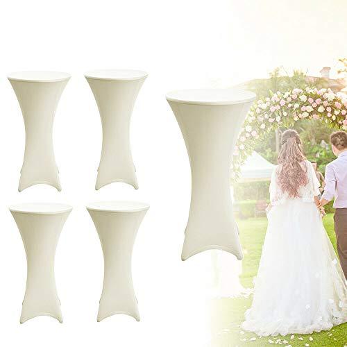 HaroldDol Stretch statafelhoes Ø 80cm 5X hoes statafel tafelkleed, elegante stretchhoes wit als tafelovertrek, voor bruiloft, feesten en banketten