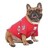 iChoue Rich Dog Series Pet Clothes Shirt T-Shirt Pullover Tank Top French Bulldog Pug Boston Terrier T-Shirt - Red Diamond M