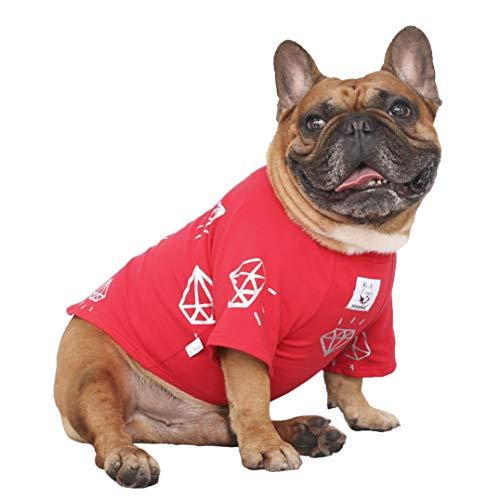iChoue Rich Dog Series Pet Clothes Shirt T-Shirt Pullover Tank Top French Bulldog Pug Boston Terrier T-Shirt - Red Diamond L
