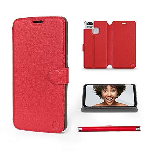 Mobiwear | Echt Lederhülle | Kompatibel mit Asus Zenfone Zoom S ZE553KL, Made in EU handyhülle, Slim Leather Hülle, Premium Flip Schutzhülle, Transparent TPU Silicon, Book Style, Tasche - Rotes Leder