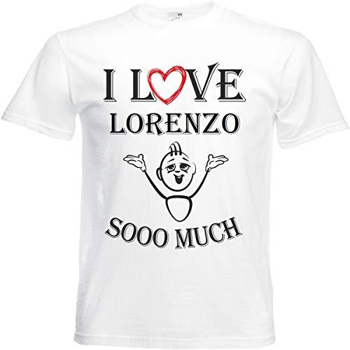 Camiseta I Love Lorenzo para mujer, hombre y niños en color blanco. Blanco XXXXL