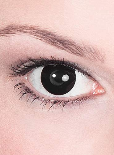 Kontaktlinsen Jahreslinsen - schwarze Motivlinse mit Sehstärke - Dioptrien: -1,0 - ideal für Halloween, Karneval, Motto-Party