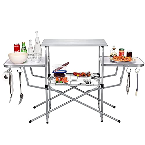 Goplus Folding Grilling Table with Carry Bag, Foldable Camping Table with Storage Lower Shelf and Hook, Portable Cook Station Table Quick Setup for BBQ Party, Camping, Picnics