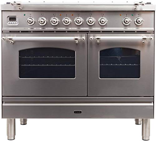 Ilve UPDN100FDMPIX Nostalgie Series 40 Inch Dual Fuel Convection Freestanding Range, 5 Sealed Brass Burners, 4 cu.ft. Total Oven Capacity in Stainless Steel, Chrome Trim (Natural Gas)