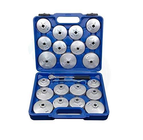 Ölfilterschlüssel Werkzeug Set Ölfilterkappen 23 Stück Oelfilter Kappen Universal KFZ Ölwechselwerkzeug Ölfilterkappe Schraubenschlüsselbuchse Werkzeugsatz zum Entfernen