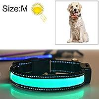 首輪 犬 ペット用品 犬 ハーネス よく売れる中型および大型犬ペットソーラー+ USB充電LEDライトカラー、首周りサイズ:M、40-50 cm(オレンジ) (Color : Green)