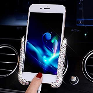 TISHAA Blingbling Rhinestone Crystal Car Mobile Phone Holder Air Vent Mount Bling Crystal Adjustable Phone Stand Holder for Easy View GPS Screen,360° Dashboard Windshield Phone Holder (White.)