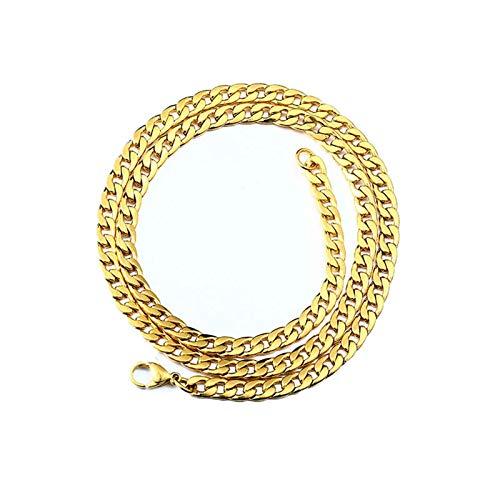 Aeici Collar Hombre Hip Hop Cadena Curb Collar para Hombres Oro Largo 75 Cm