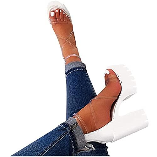 2021 Plate-Forme Sexy compensées Talons Hauts Chaussures Sandales Femmes Paille d'été Cheville-Wrap Chaussures Sandales Confortable Paille Chaussures Romaines Casual Pas Cher Sandales (Blanc, 41)