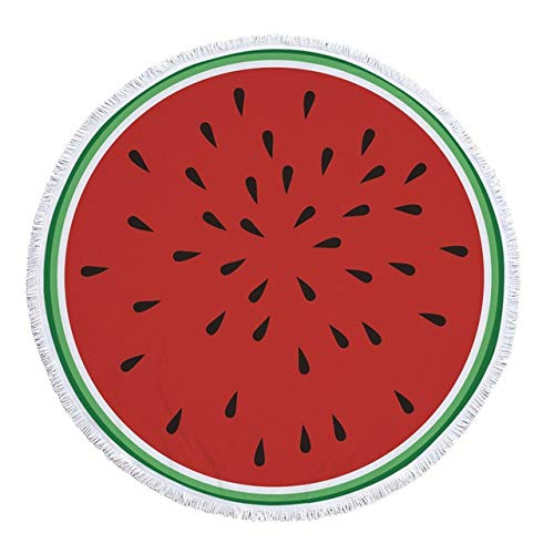 B-UK Toalla de Playa Microfibra Redondo Playa Toalla Fruta Gruesa Ducha Toallas Toallas de Natación Círculo Círculo Toalla con borlas (Color : Pattern 11, Size : 150x150cm)