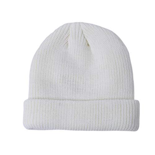 SEGRJ Wintermütze, warm, unisex, faltbar, weich, gestrickt, einfarbig, für Straße, Outdoor, Sport, tragbar, Weiß