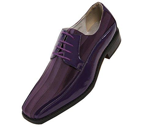 Viotti 179 - Mens Shoes - Oxford Shoes for Men - Mens Casual Dress Shoes, Wedding Shoes Striped Satin, Patent Tuxedo - Dress Shoes for Men; Color: Purple, 10.5