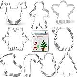 Stampo per biscotti natalizi Set-3 pollici-9 pezzi-Gingerbread Men, Snowflake, Renne, Angel, Christmas Tree, Snowman, Santa Face e More Cookie Cutters.