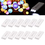 12 Pack Paper Lanterns Lights, YUNLIGHTS Waterproof Battery Operated Led Paper Lantern Lights - Mini Lantern Lights for Wedding Balloons Easter Eggs Festival Party Christmas Decoration (White)
