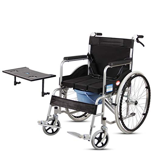 OCYE Rollstuhl Faltrollstuhl mit Sitzschale Breite 46 cm Reiserollstuhl Transportrollstuhl Belastbarkeit100 kg Sitzhöhe 50 cm einstellbar PU Bereifung